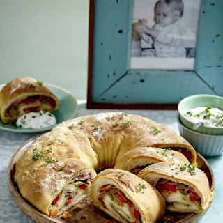 Stromboli Ring with Herbed Cheese Dip.