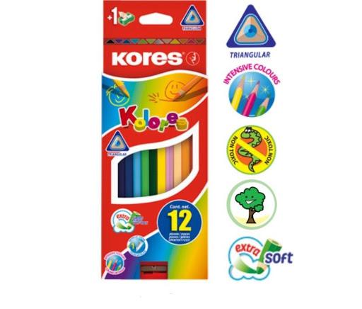 Colores Kores Triangulares + Sacapuntas 12 Und