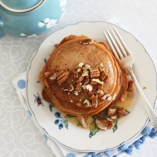 Vegan Chai Pancakes with Maple Syrup and Pecans