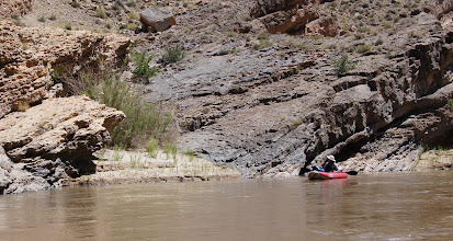 Photo: Honaker Trail formation dives below river.