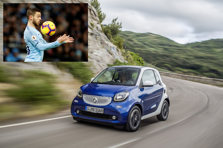 Bernardo Silva took all of five minutes to afford a Smart Fortwo. Picture: SUPPLIED, Inset: REUTERS