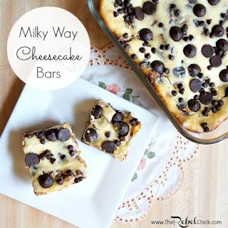 Simple Milky Way Cheesecake Bars.