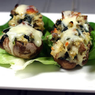 Spinach Artichoke Stuffed Mushrooms.
