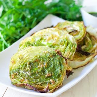 Garlic Rosemary Roasted Cabbage Steaks.