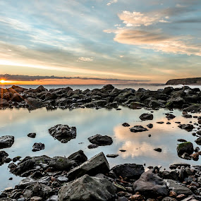 Sunrise at Seaham by John Haswell - Landscapes Waterscapes ( sunset, sea, beach, seascape, sunrise, cloudporn, rocks, sun,  )