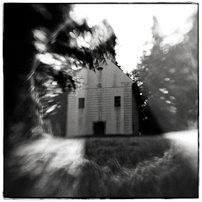 Welcome. by Sasa Lazic - Buildings & Architecture Other Exteriors ( canon, mood, bw, haunted, square, house, lensbaby, flare, light )