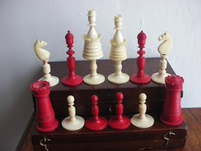 Photo: CH290: German, bone set, K=3.5in   A mixture of styles - but to what extent original to the set?
