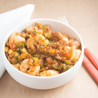 Prawn (Shrimp) and sausage casserole