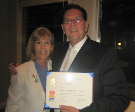 Photo: Assistant District Governor Dr. Karen Weiss presenting the PAUL HARRIS FELLOW to Club Secretary Joe Alemany on June 8, 2012