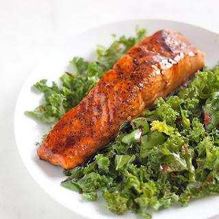 Honey Soy Glazed Salmon with Spicy Kale Salad.