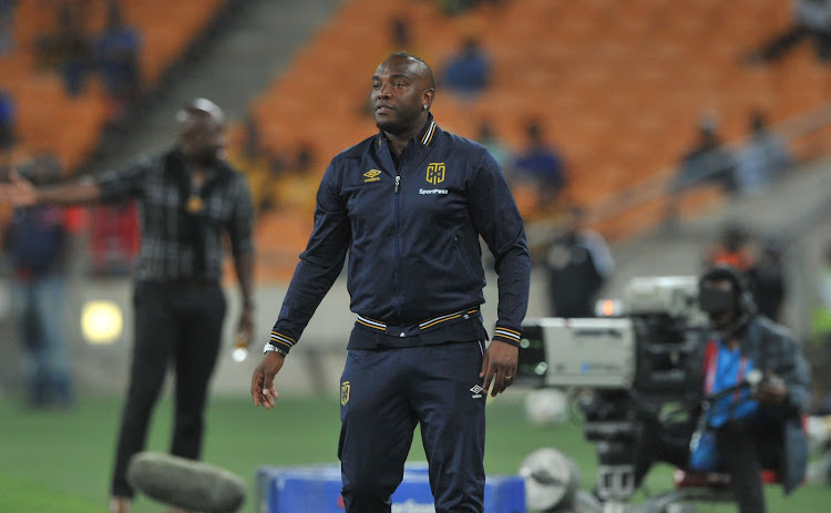 Cape Town City head caoch Benni McCarthy reacts on the touchline during the Absa Premiership match against Kaizer Chiefs on 17 February 2018 at FNB Stadium.