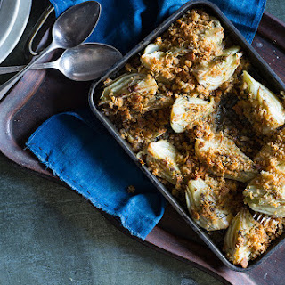 Baked Fennel With Anchovy Crumbs.