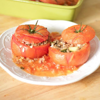 Greek Stuffed Tomatoes With Rice and Meat