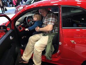 """Photo: Cramming into a Fiat Abarth so Gib can """"drive"""" it.."""