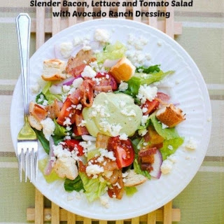 Slender Bacon, Lettuce and Tomato Salad with Avocado Ranch Dressing.