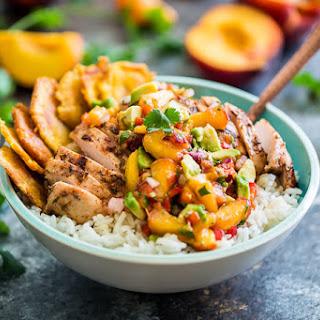 Caribbean Jerk Chicken Bowls with Peach Avocado Salsa.