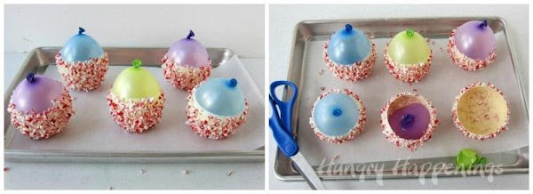 Set the balloons on a parchment paper lined baking sheet. Set the tray in...