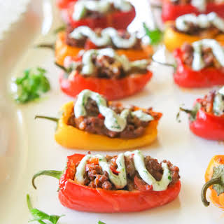 Taco Stuffed Peppers with Cilantro Cream Sauce.