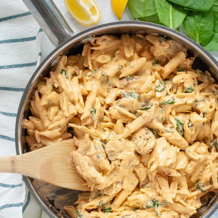 Creamy Spicy Vegan Sausage Pasta with Spinach Recipe