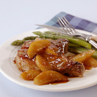 Pan-Seared Chops with Pear and Soy-Ginger Glaze.