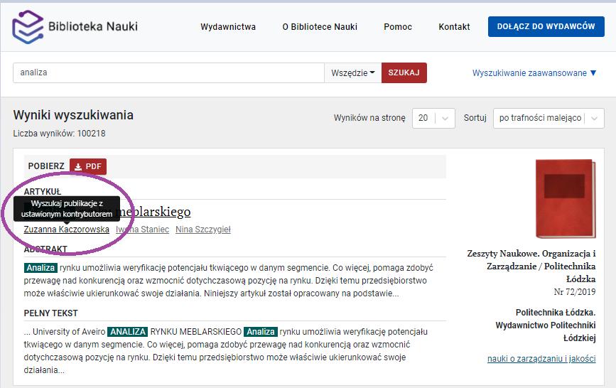 Zrzut ekranu - widok wyników wyszukiwania z zaznaczoną podpowiedzią dająca możliwość wyszukiwania zaawansowanego publikacji z ustawionym kontrybutorem.