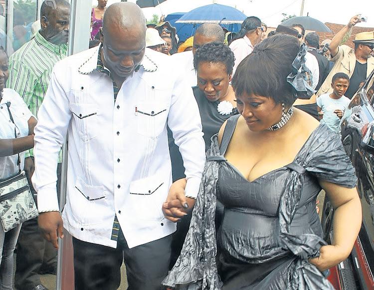 Zindziswa Mandela-Hlongwane and MK veteran Molapo Motlhajwa arrive at their wedding reception on March 4 2013 in Potchefstroom.