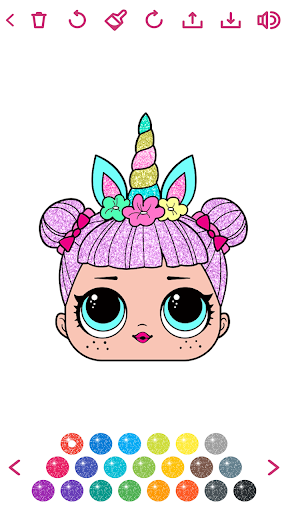 Cute Dolls Gliter Coloring Pages screenshot 2