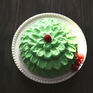 White Butter Cake With Pandan Frosting.