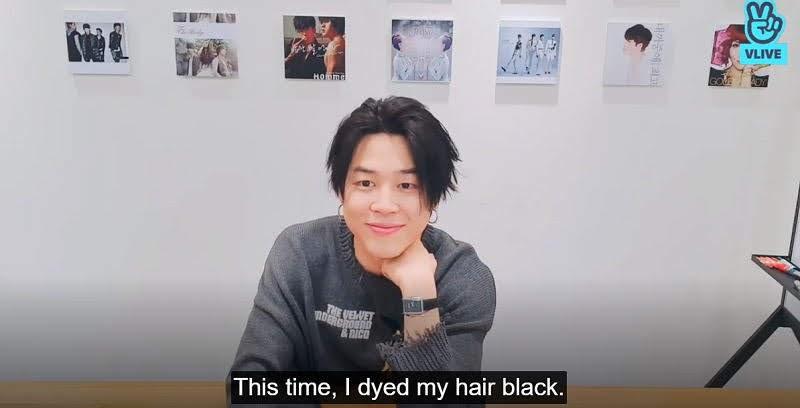 Jimin's black hair in 202 Vlive