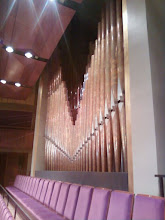 Photo: Here are the chorister cheap seats, near the organ pipes. That's where I usually sit for these afternoon jaunts. Just once, I'd like to be sitting there when somebody plays the organ. I bet the sound is awesome.