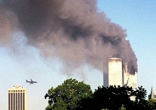 Photo: United Airlines Flight 175 approaches the south tower of the World Trade Center in New York moments before collision, seen from the Brooklyn borough of New York.