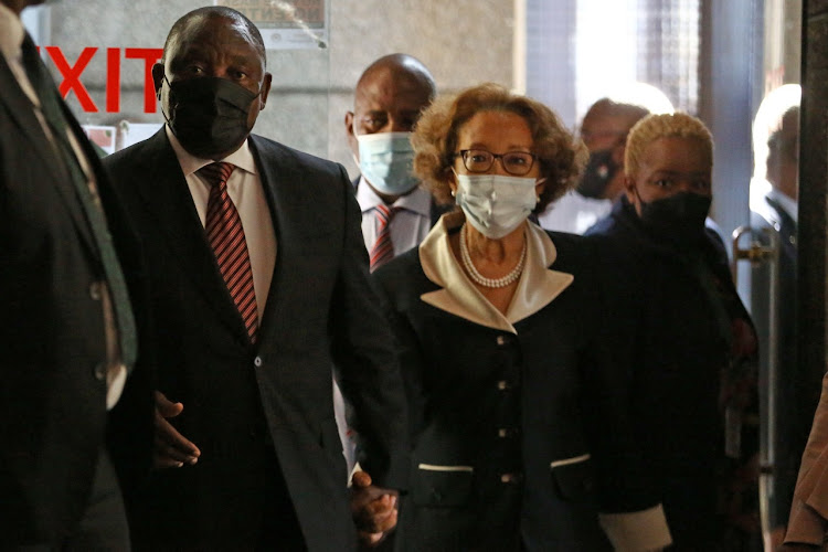 Cyril Ramaphosa and Dr Tshepo Motsepe arrive at the state capture inquiry.