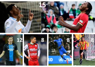 Jonathan David (AA Gent), Dieumerci Mbokani (Antwerp), Hans Vanaken (Club Brugge) en de andere kanshebbers op de trofee Topschutter