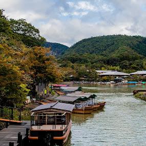 Boats boating by Maya Bar - Transportation Boats ( mountain village, boats, boating, lake )