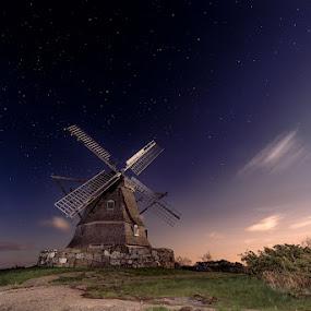 Windmill at night by Sergei Pitkevich - Landscapes Prairies, Meadows & Fields ( field, stars, night, windmill )