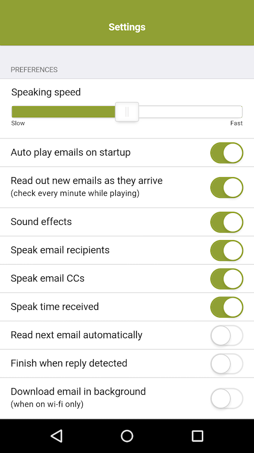 Speaking Email - voice reader- screenshot