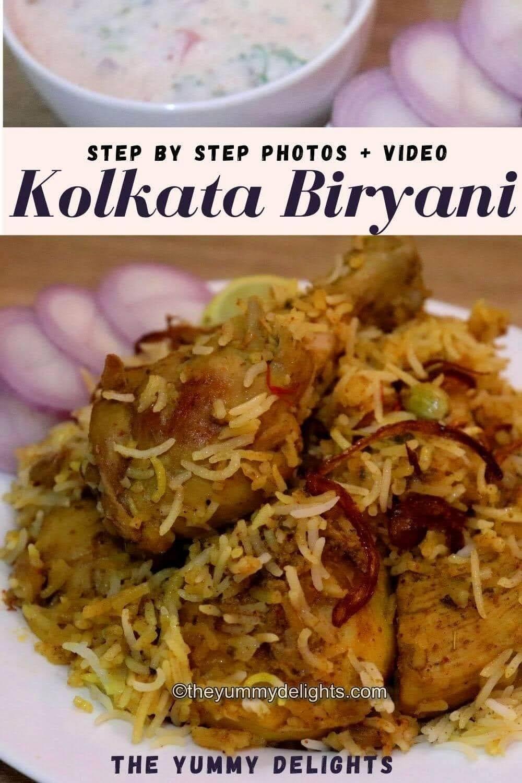 image of Kolkata style biryani served with onion slices, lemon wedge and raita.