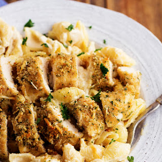 Parmesan Garlic Crusted Chicken with Garlic Alfredo Shells