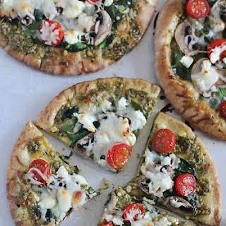 Easy Pesto Pita Bread Pizzas.