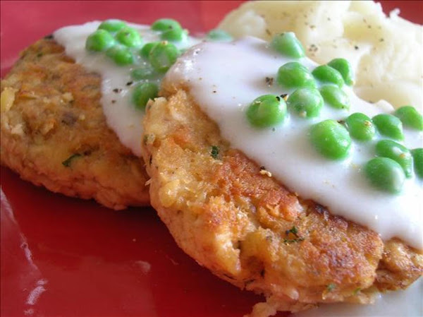 Crispy Fried Salmon Patties & Creamy Creamed Peas Recipe