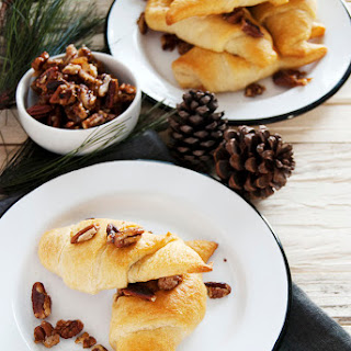 Chocolate Crescent Rolls with Candied Pecans.