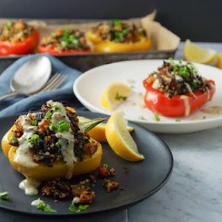 Quinoa, Roasted Vegetables and Apricot-Stuffed Peppers