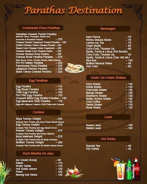 Paratha Destination menu 3