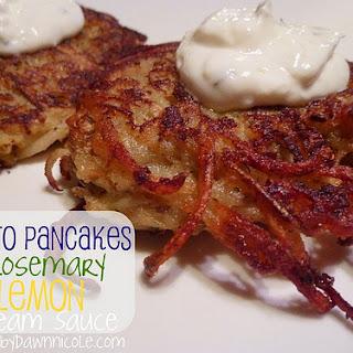 Potato Pancakes {with Rosemary Lemon Cream Sauce}