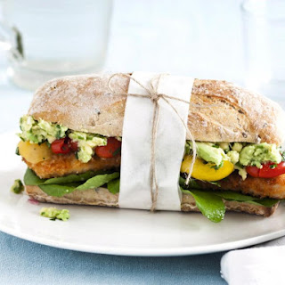 Turkey Cutlet Sandwich with Guacamole and Salsa