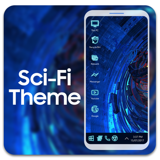 Sci fi theme for computer launcher