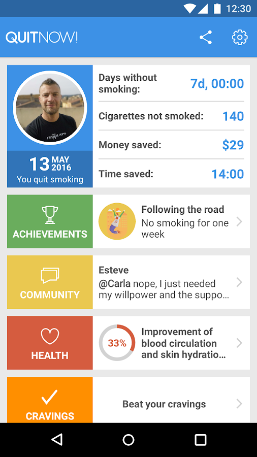Quit smoking - QuitNow!- screenshot