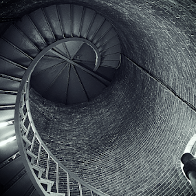 lighthouse interior by Harold Stoler - Black & White Buildings & Architecture ( lighhouse, blackandwhite, composition, stairs, interior )