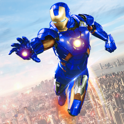 Flying Iron Robot Superhero Fighting City Rescue