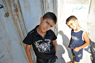 Photo: Two youth from Balata refugee Camp in Nablus, West Bank.